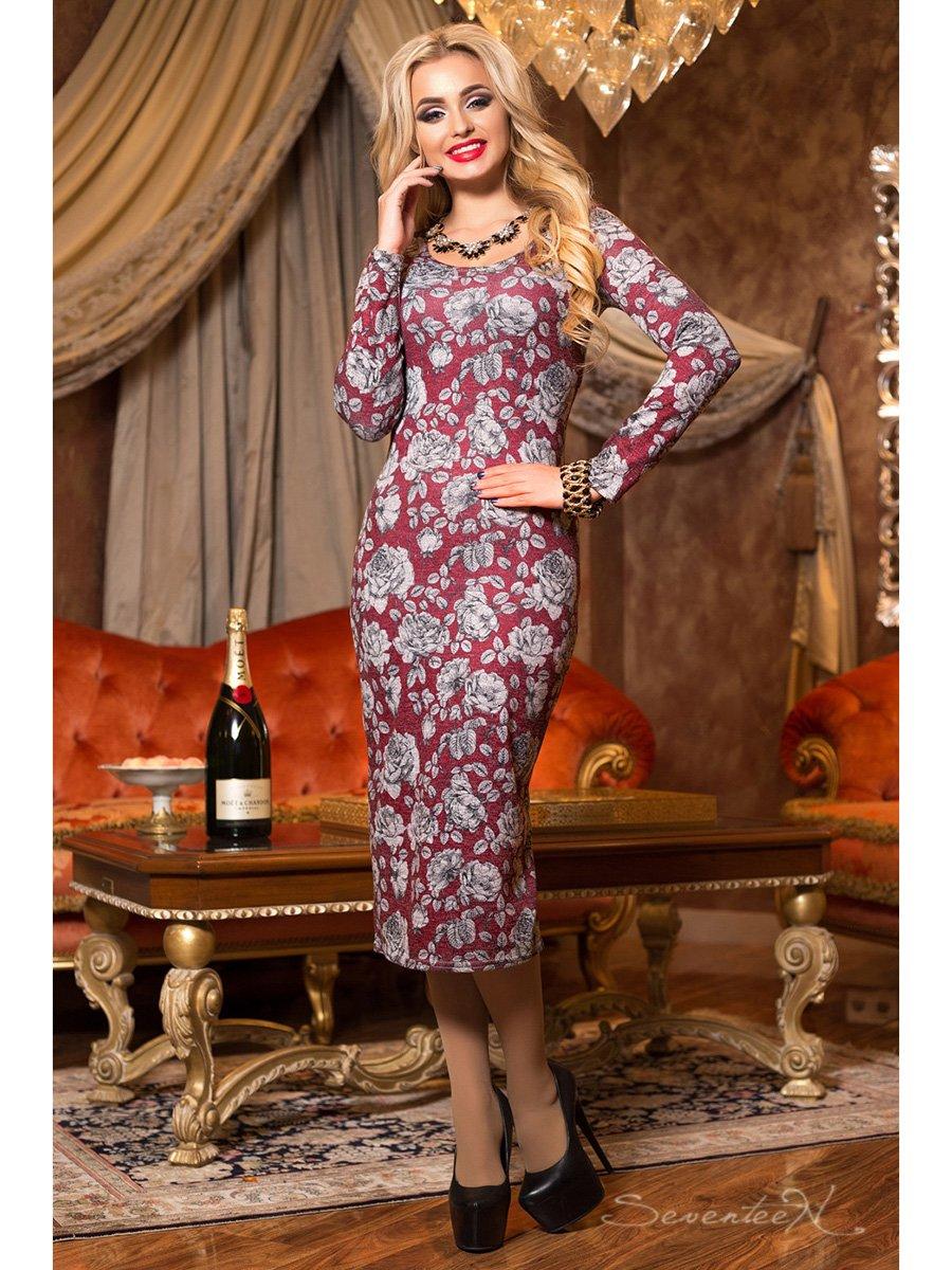 Платье бордовое в принт | 2891251