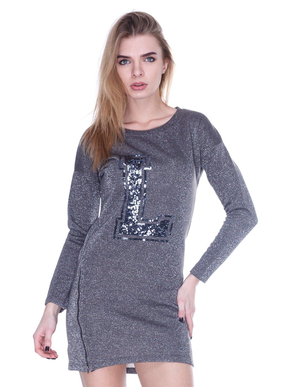 Платье темно-серое с декором | 1480799