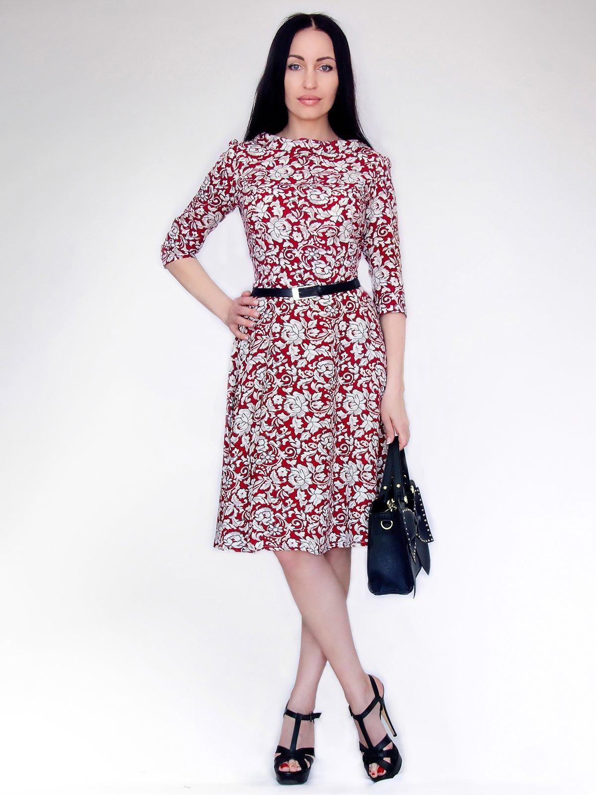 Сукня червоно-біла в принт   2748561