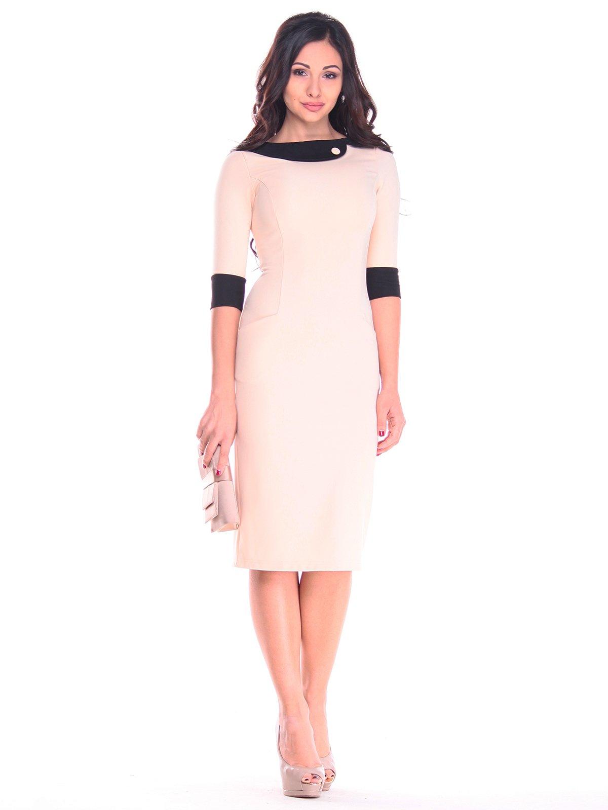 Платье бежево-черное | 2784052