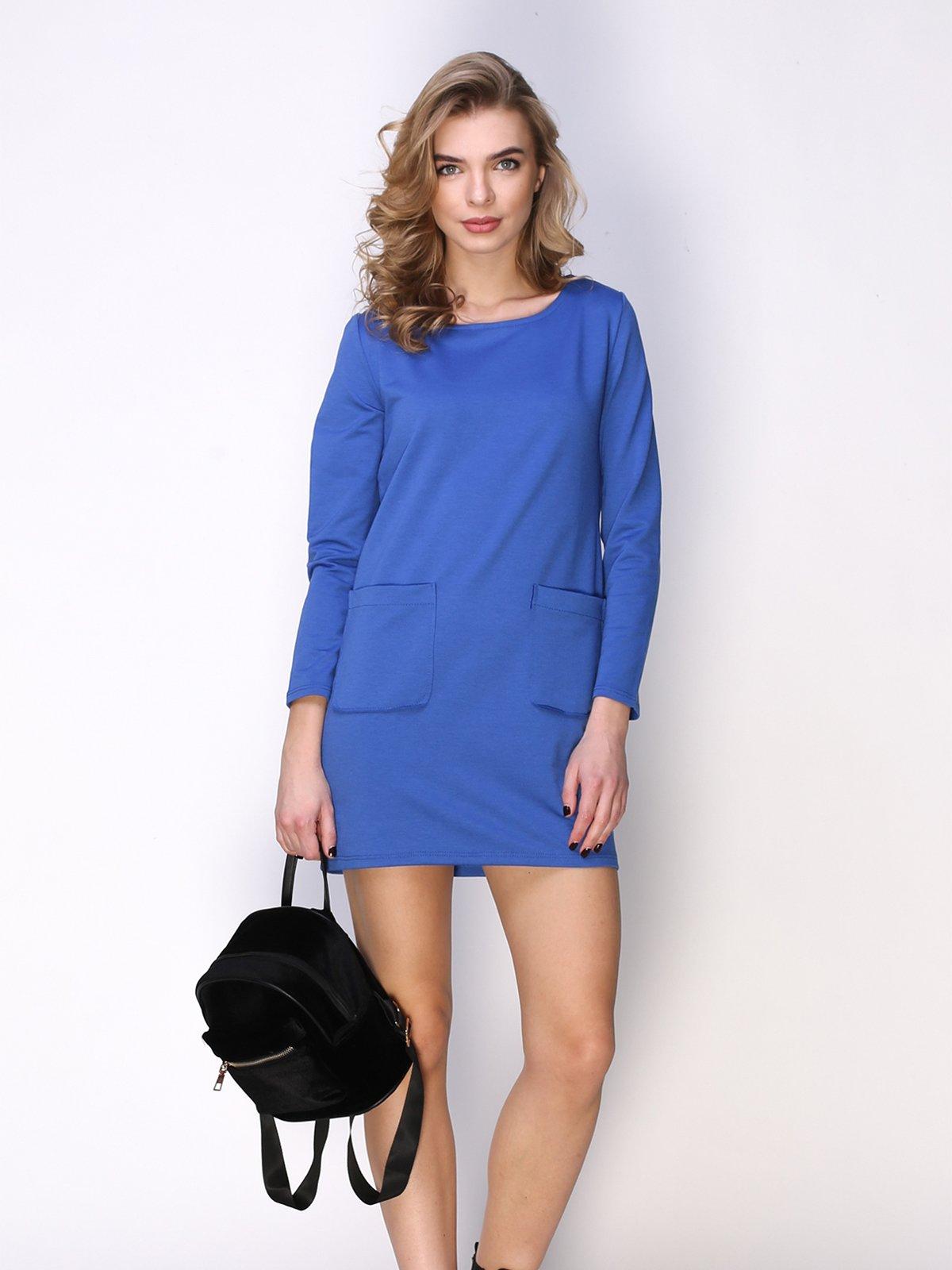 Сукня синя з накладними кишенями | 2623307