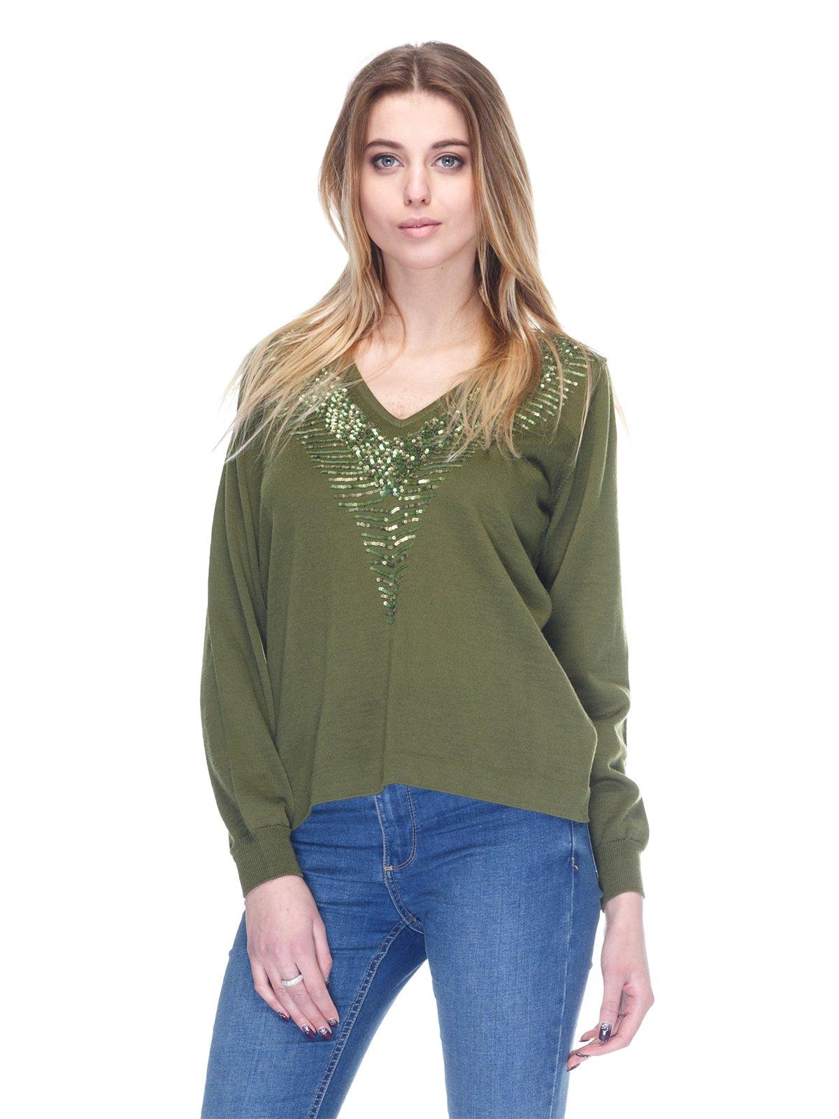 Пуловер зеленый | 2928671