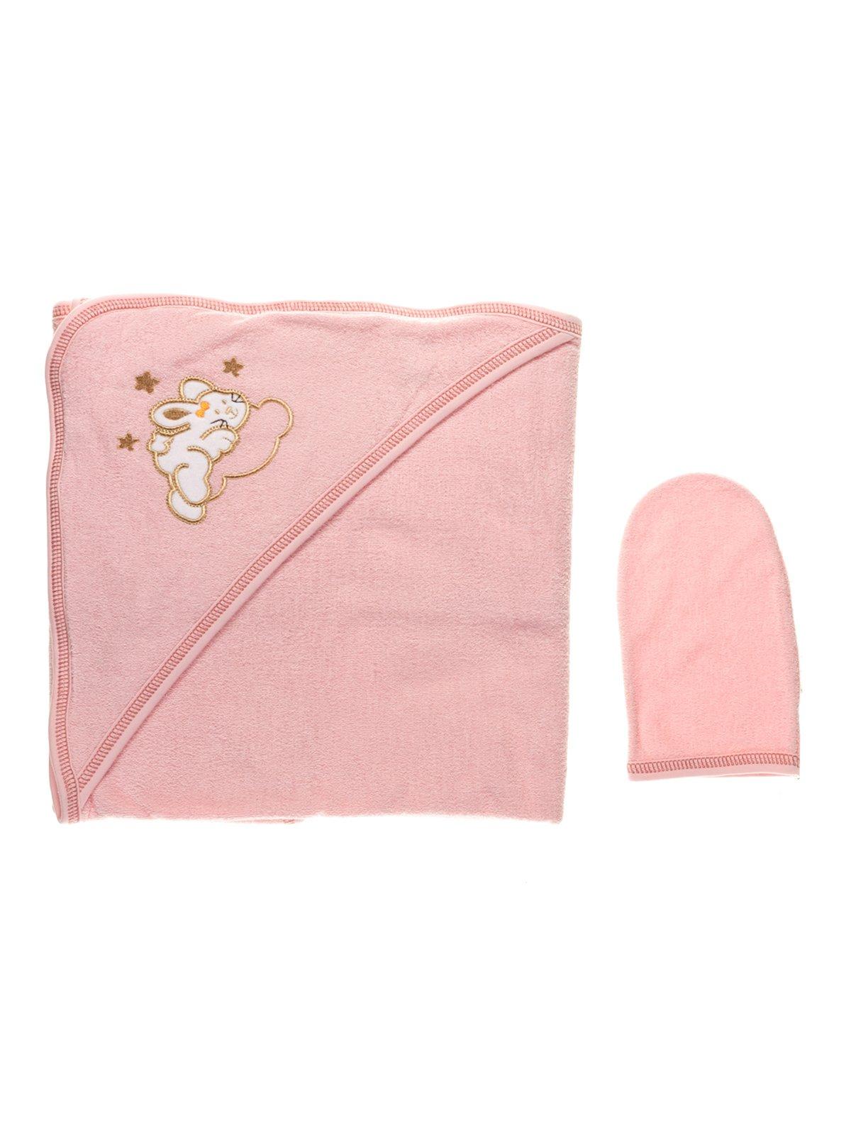 Комплект для купания: полотенце-уголок и рукавичка   2930138