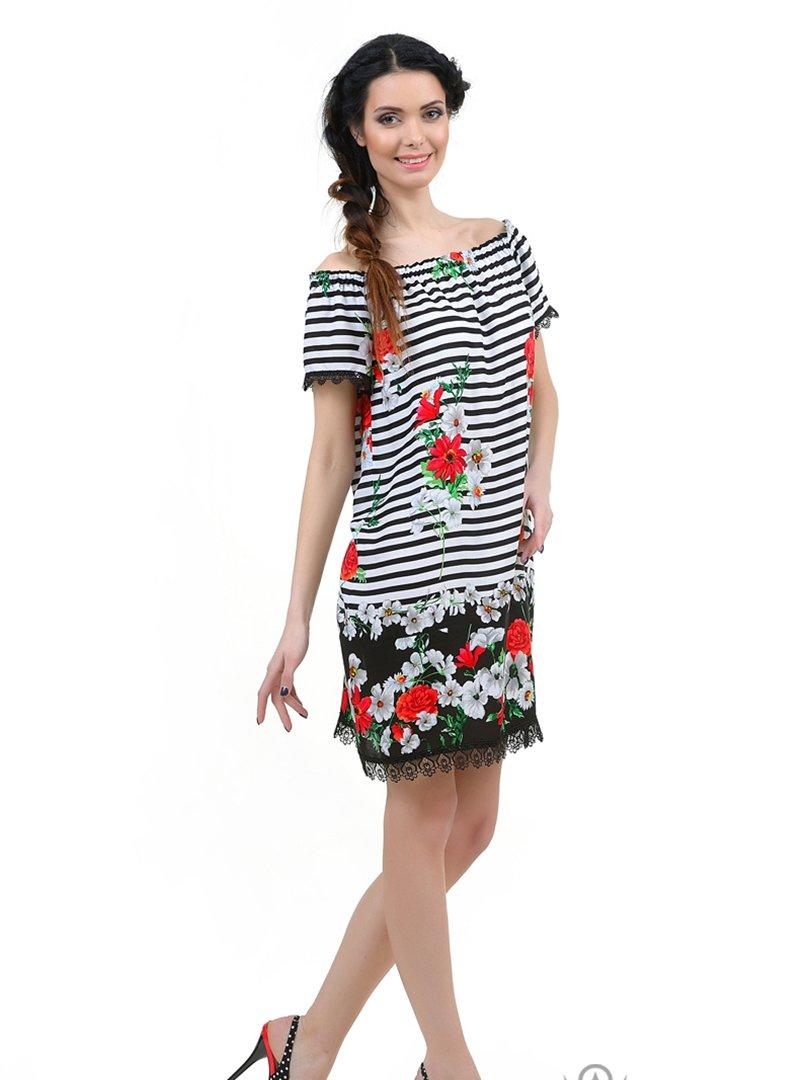 Сукня біло-чорна в смужку і з принтом   2650725