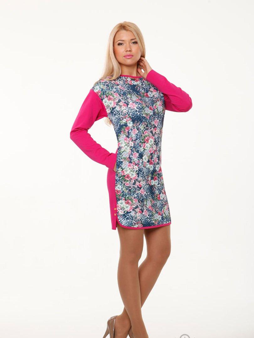 Платье сине-розовое в принт | 2046046