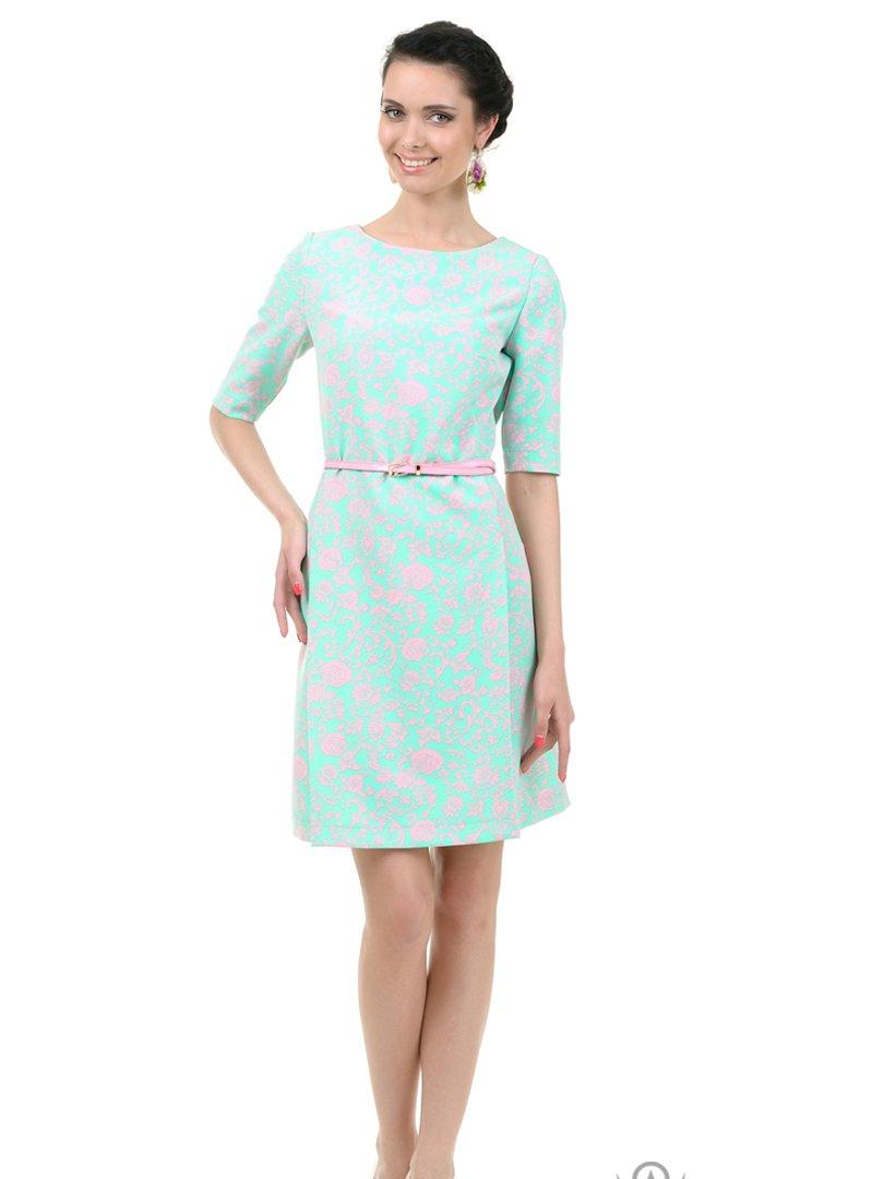 Платье бирюзовое в принт | 2937135