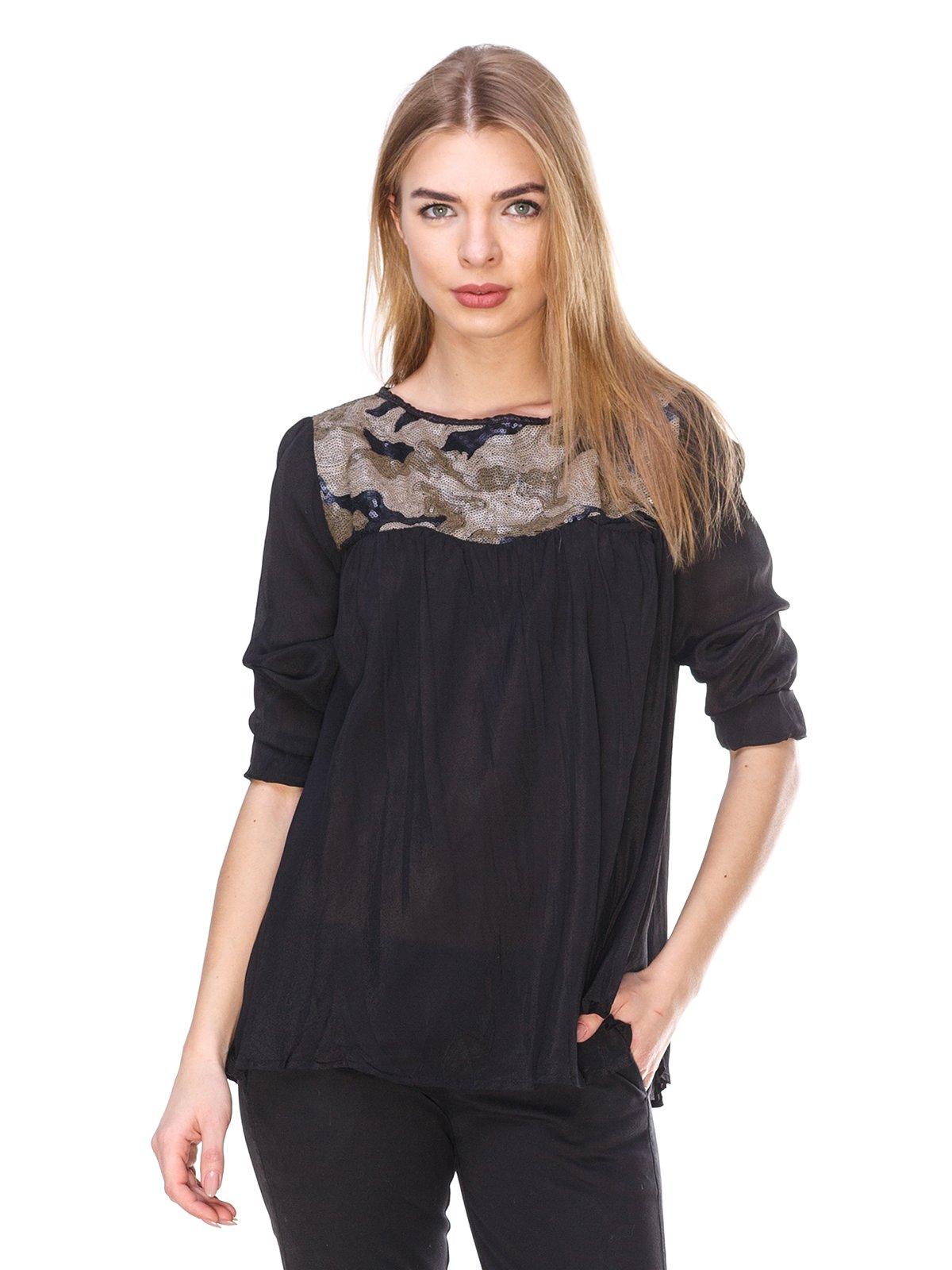 Блуза черная с пайетками | 2932238