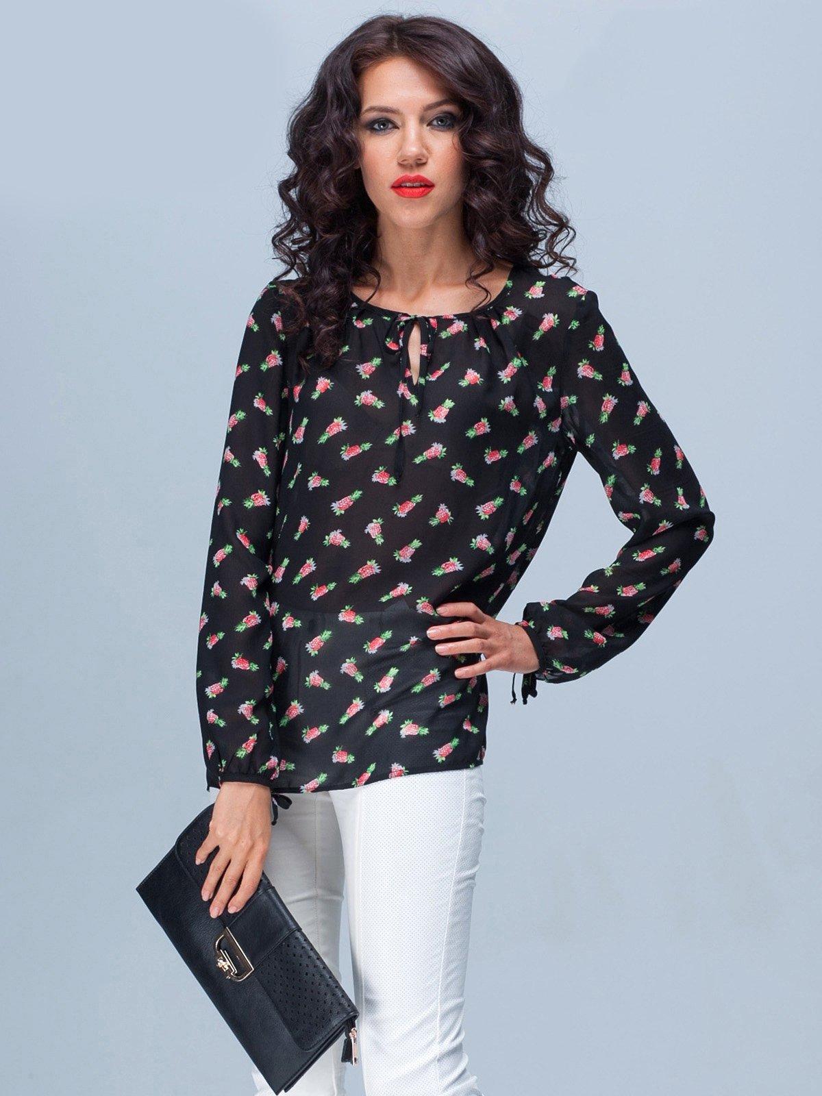 Блуза черная в принт | 1885321