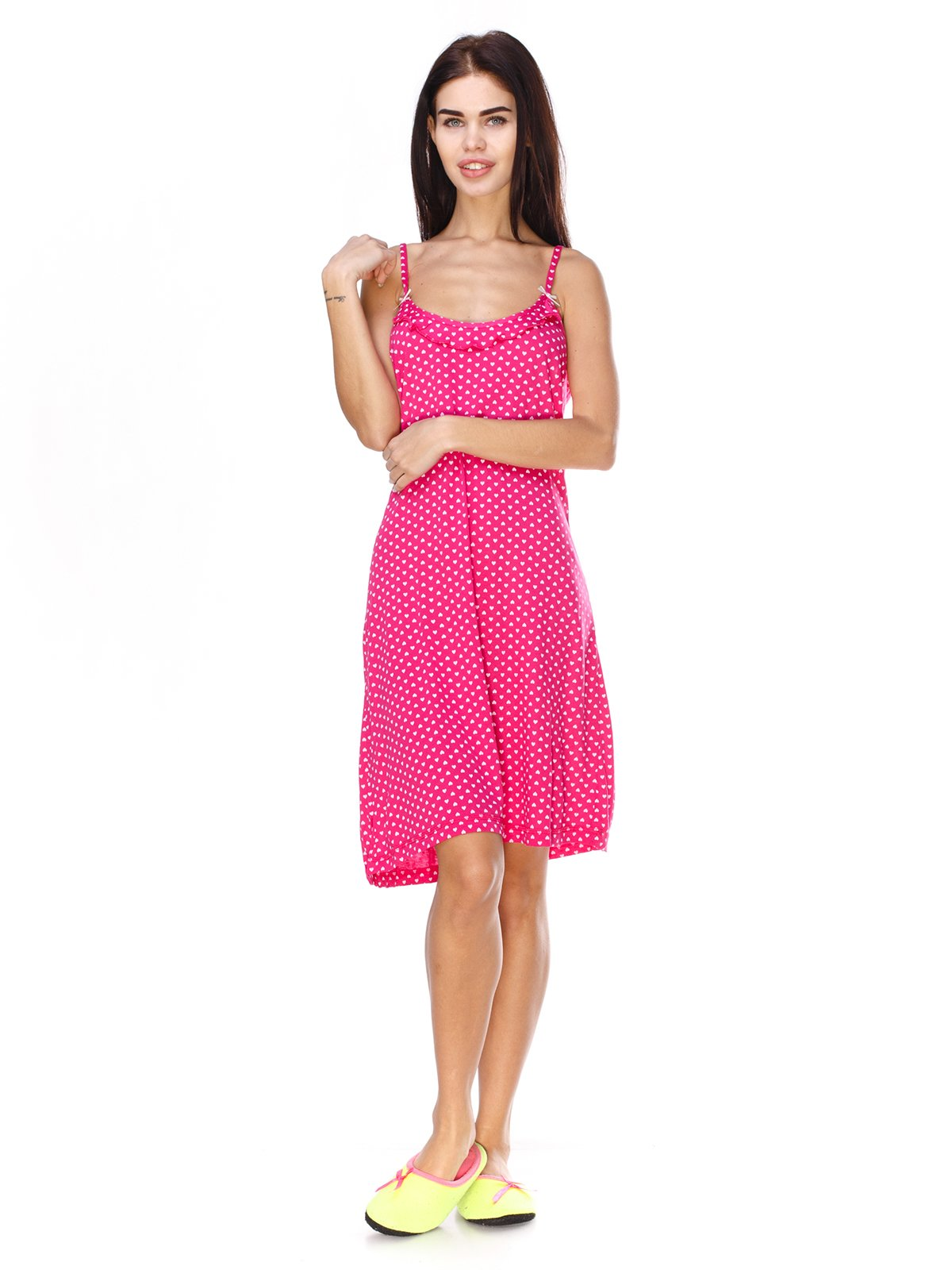 Сорочка нічна рожева в горошок   2940907