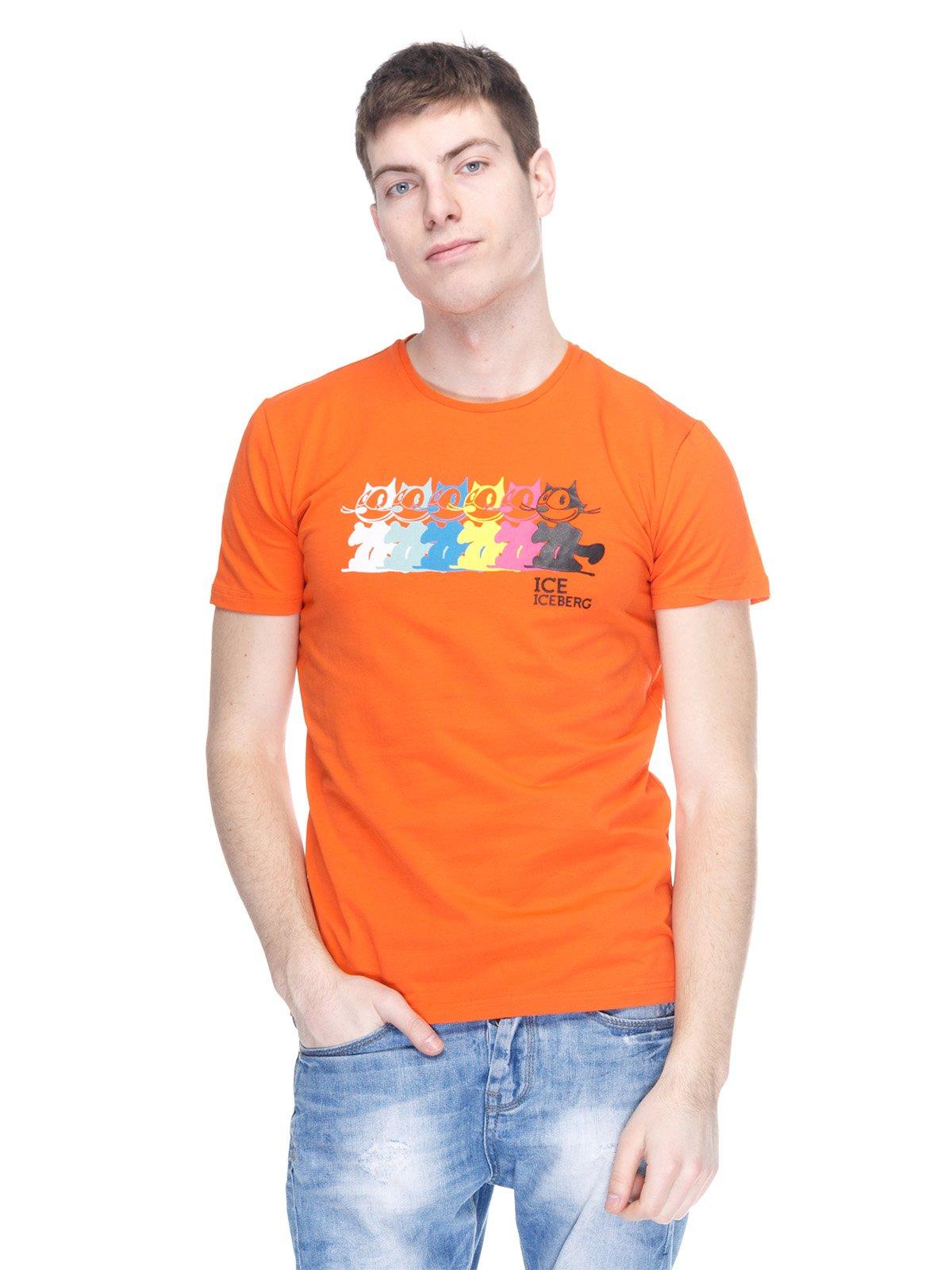 Футболка оранжевая с принтом   2146904