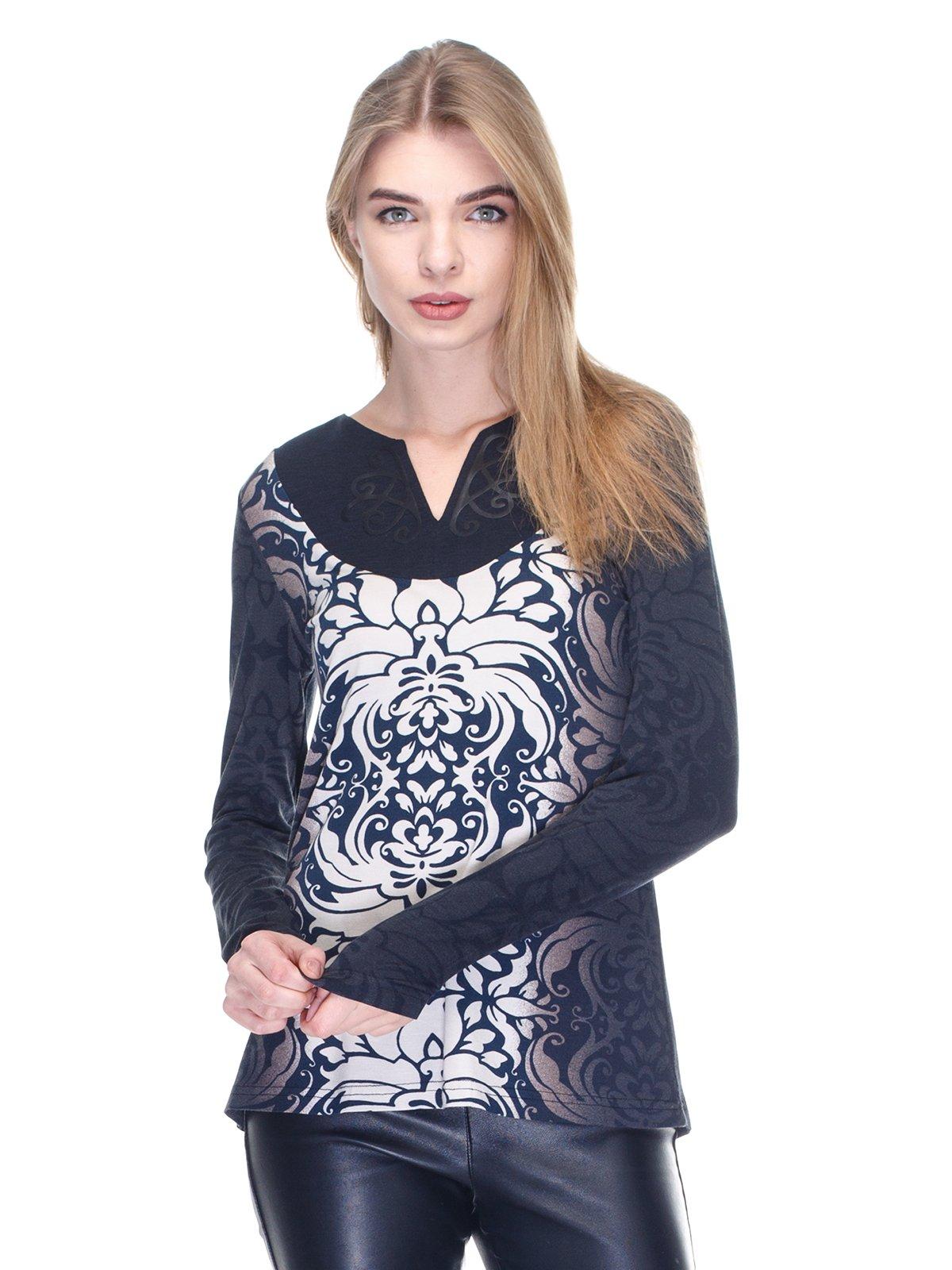 Пуловер синій у принт | 2946697