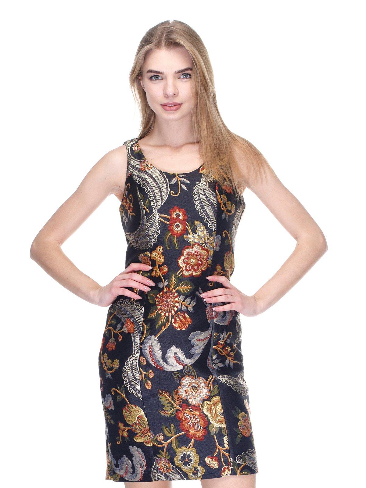 Платье черное в цветочный принт   2946794