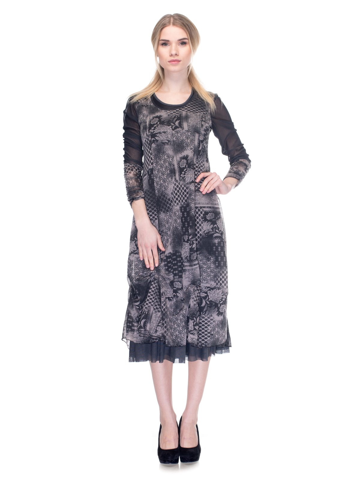 Платье черно-серое в принт   2946816