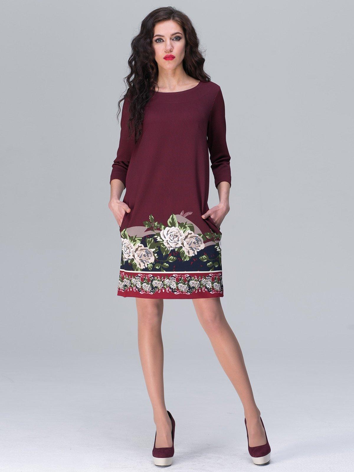 Платье бордовое с цветочным принтом | 2955856