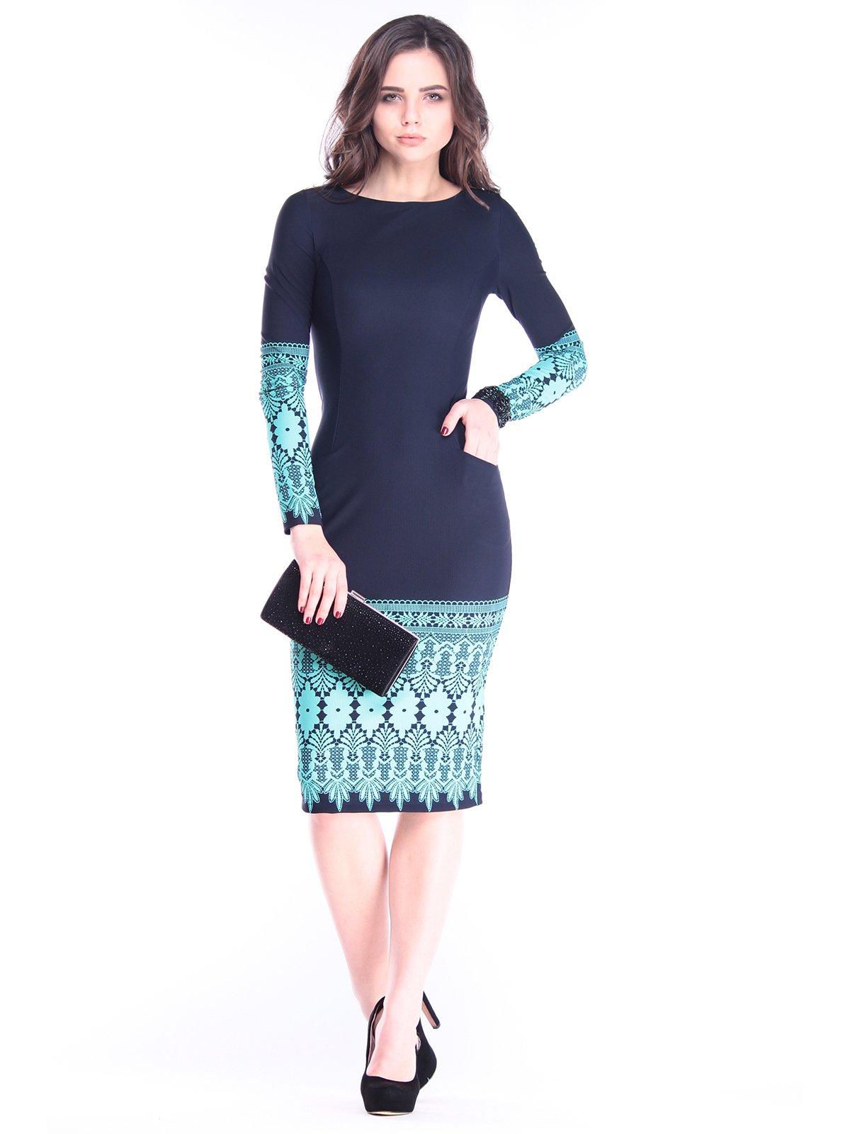 Платье темно-синее с принтом | 2962780