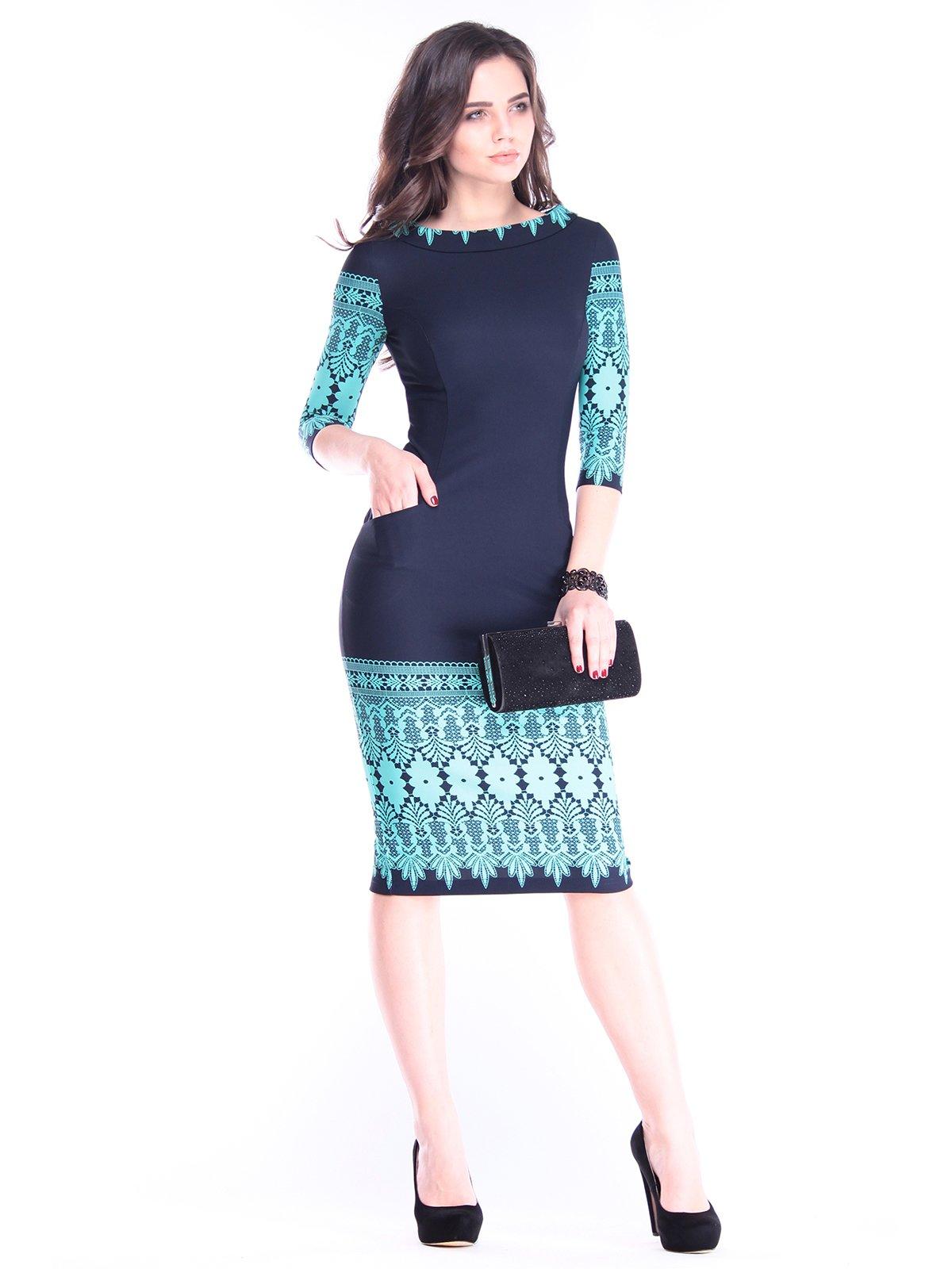 Платье темно-синее в принт | 2962869