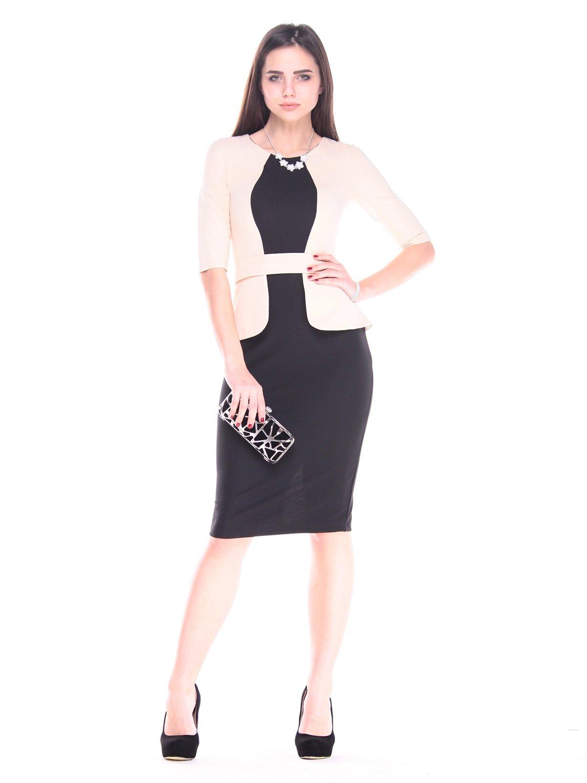 Платье черно-бежевое | 2917842