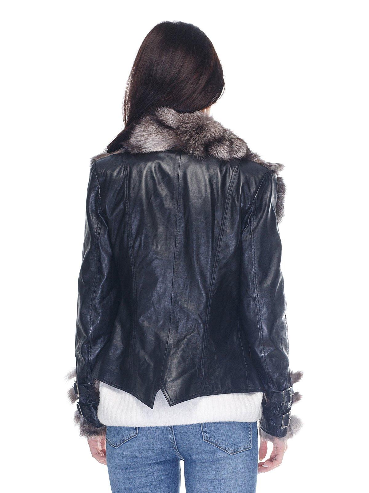 Куртка чорна з коміром з хутра чорнобуркиї | 2973735 | фото 2