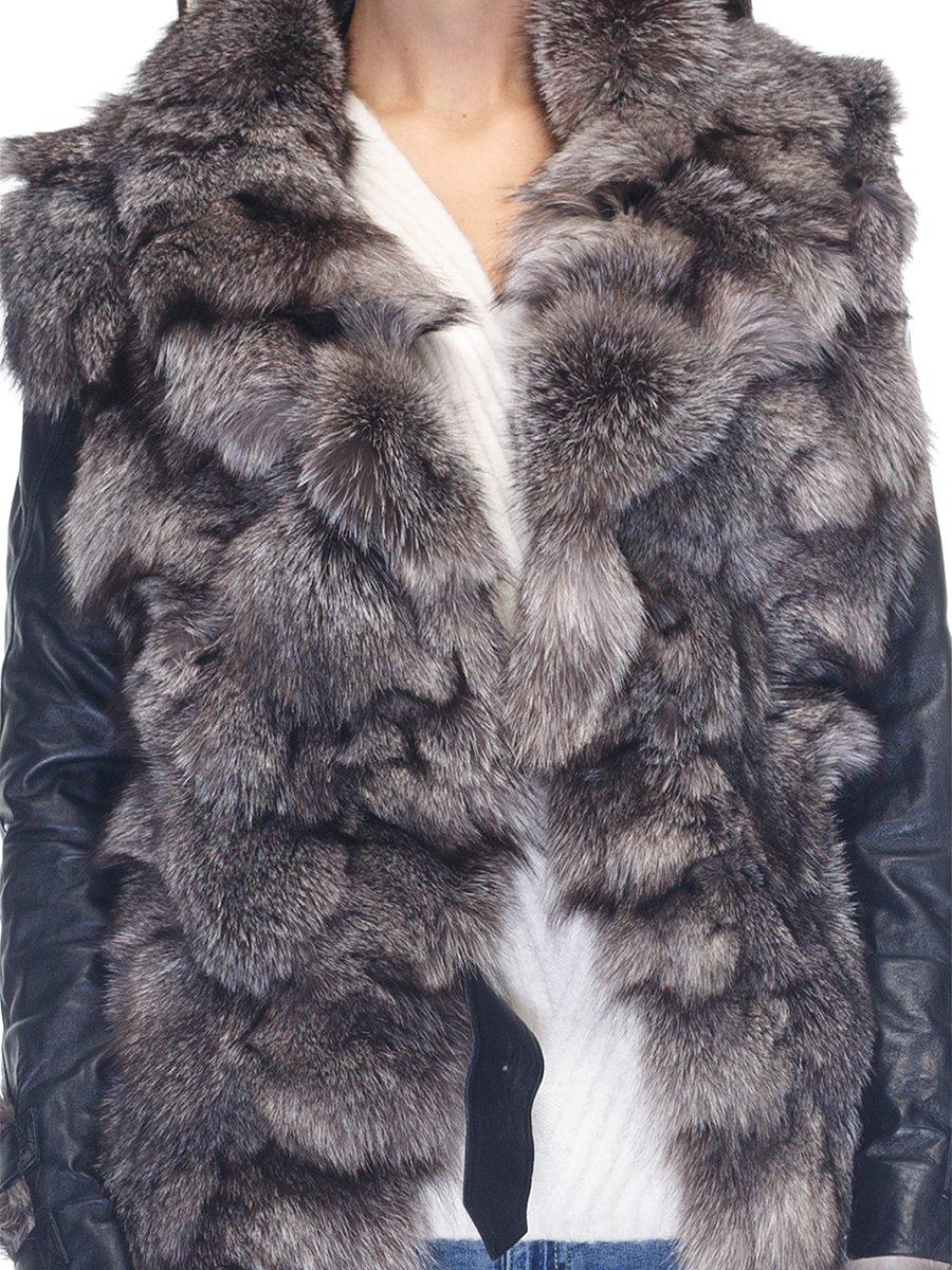 Куртка чорна з коміром з хутра чорнобуркиї | 2973735 | фото 3