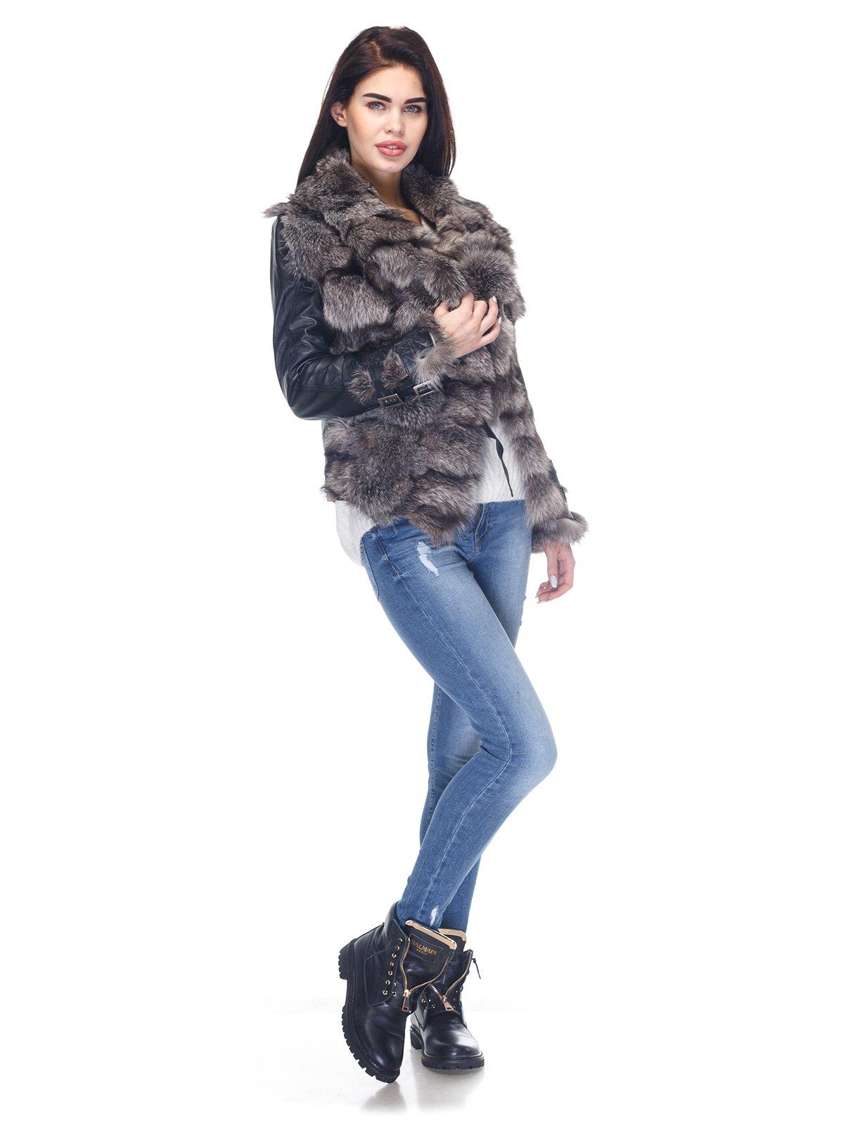 Куртка чорна з коміром з хутра чорнобуркиї | 2973735 | фото 4