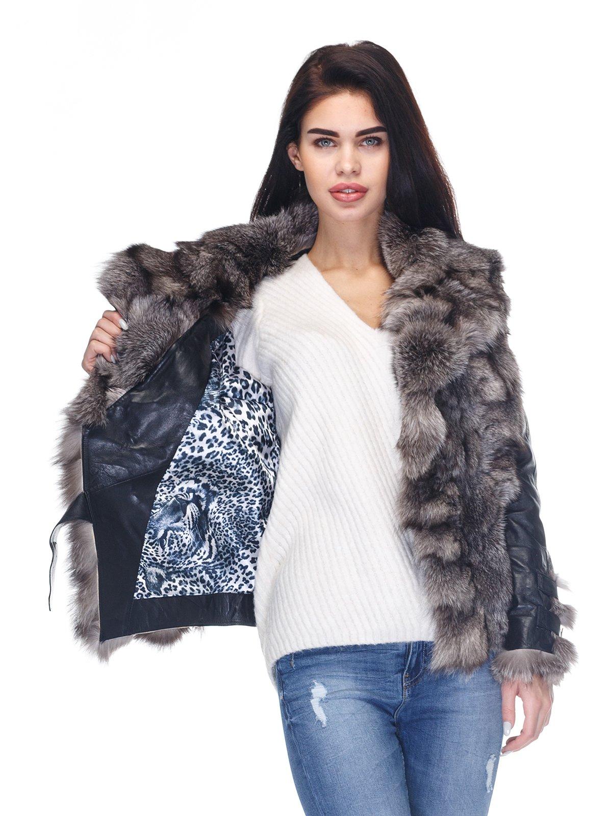 Куртка чорна з коміром з хутра чорнобуркиї | 2973735 | фото 5