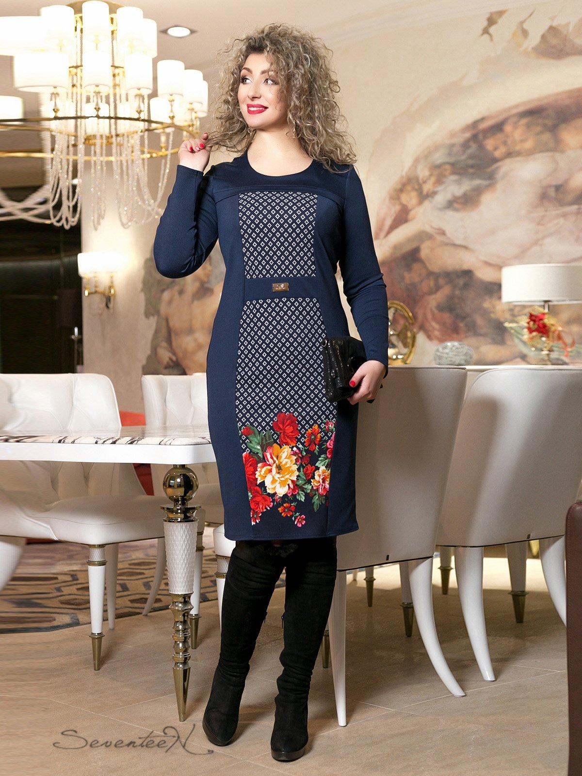 Сукня синя з принтом   2996016