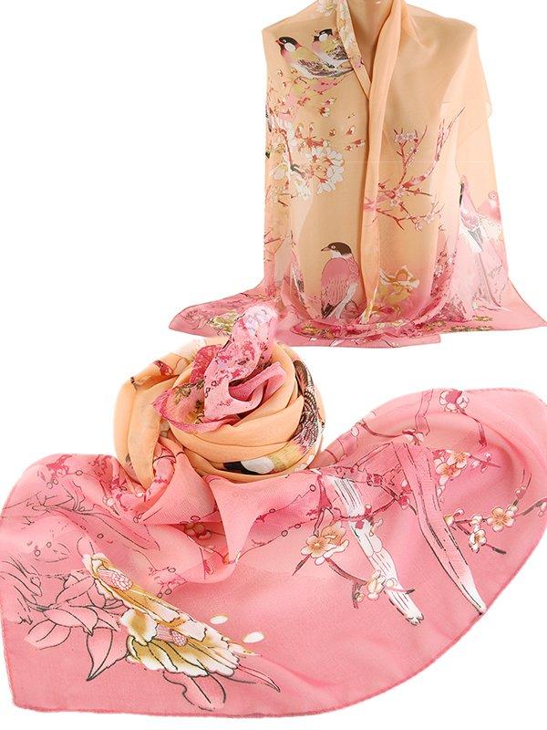 Шарф розовый с принтом | 3016635