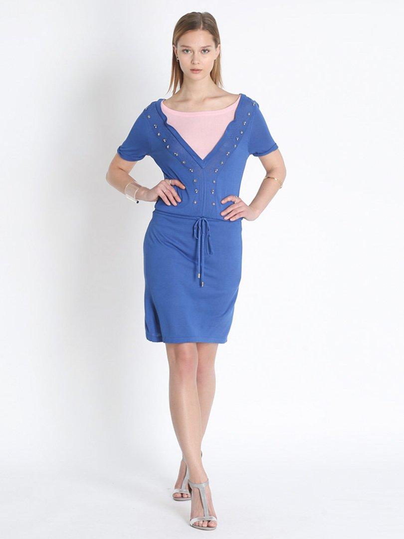Платье сине-розовое с декором   2408058