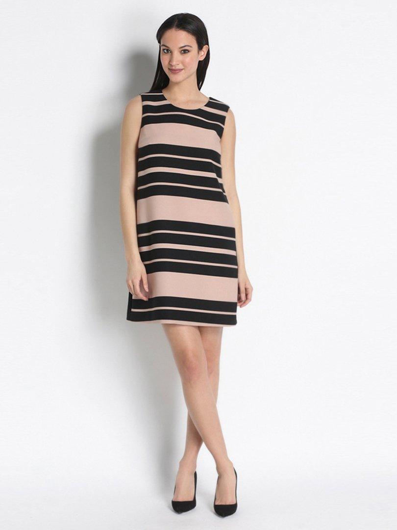 Сукня чорно-бежева в смужку | 2416025