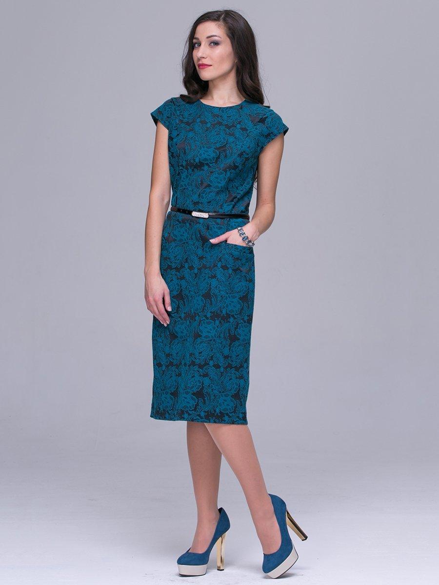 Платье бирюзовое в принт | 3032250