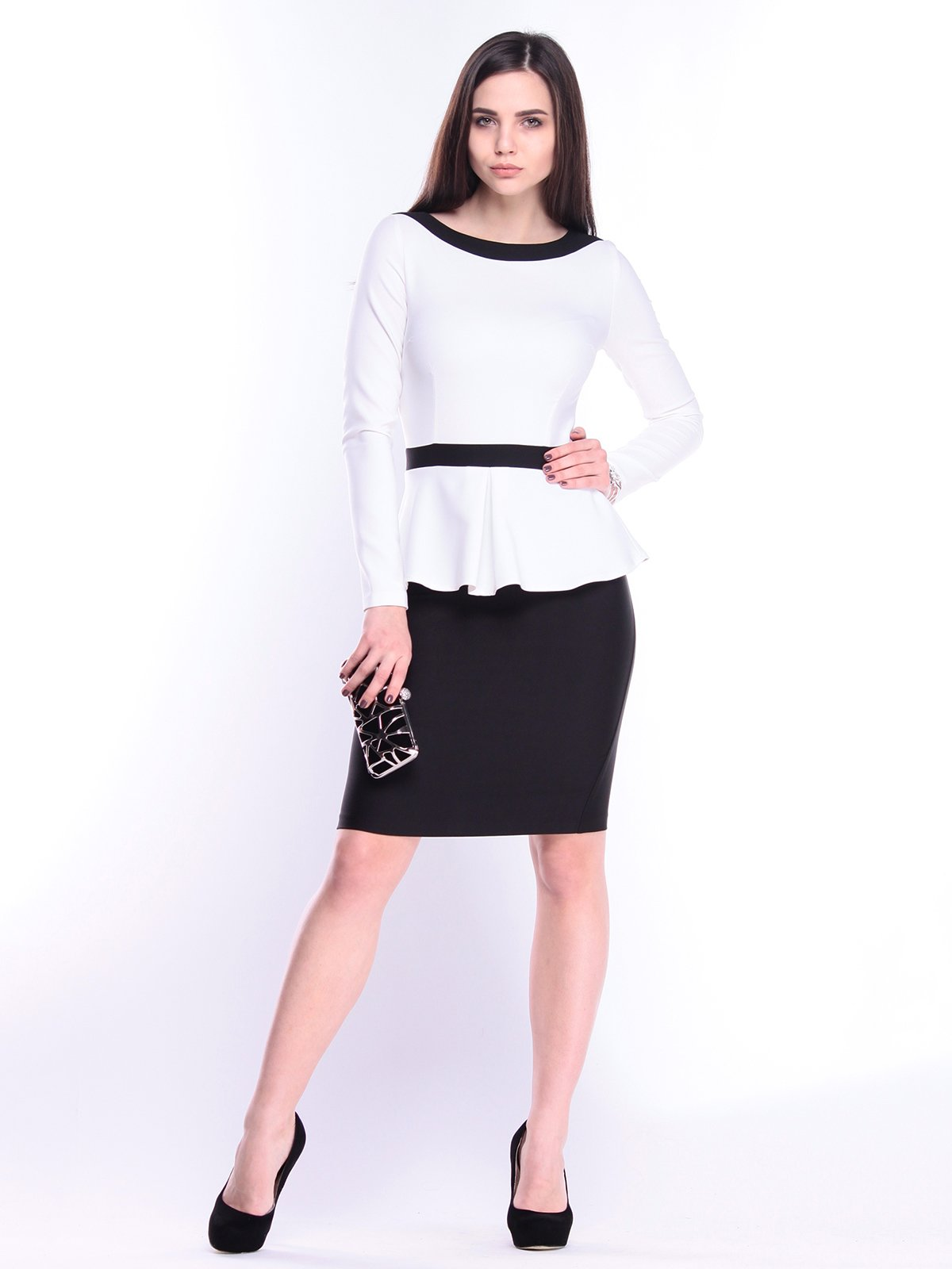 Платье молочно-черное | 3041105