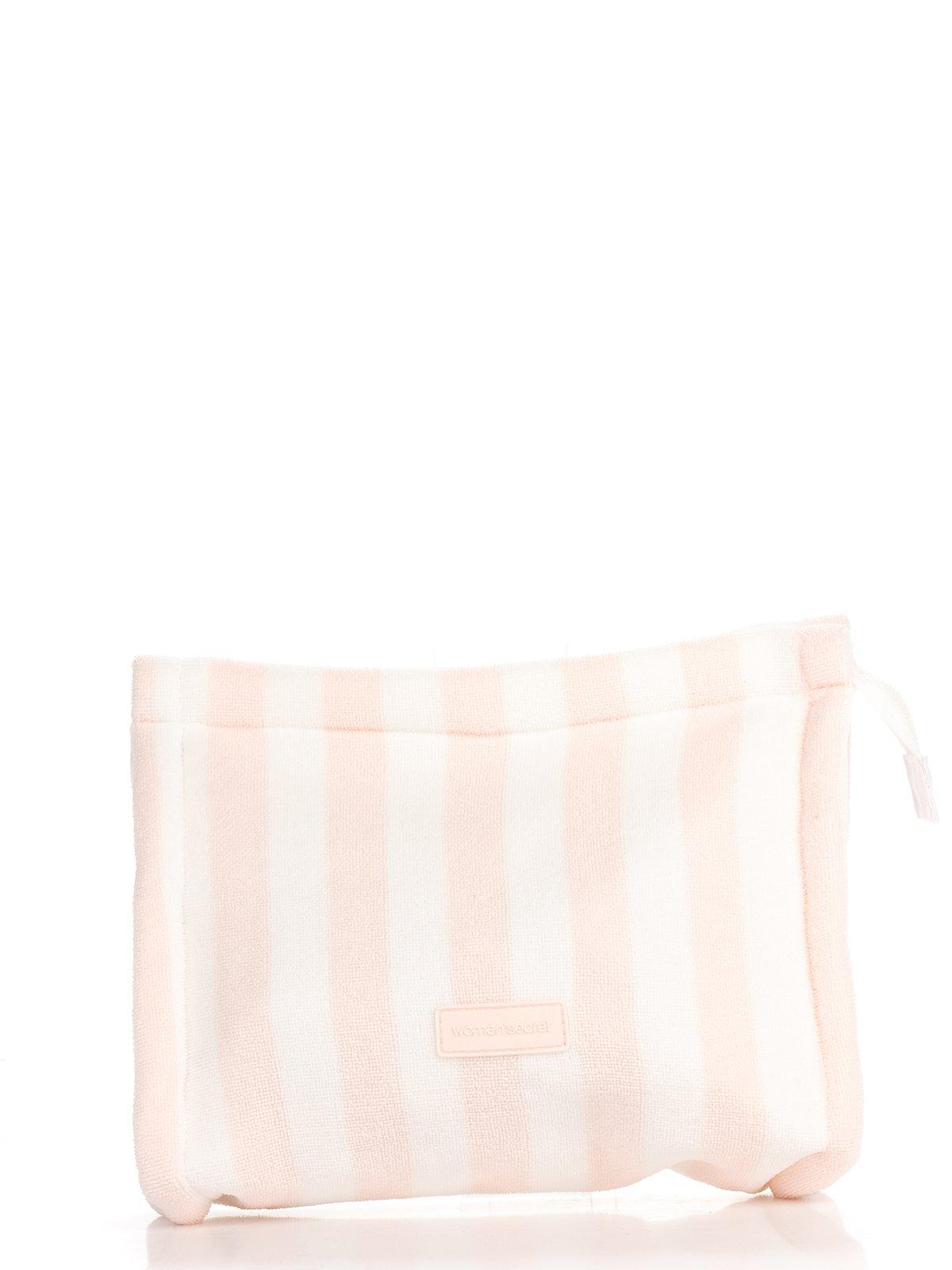 Косметичка бело-розовая в полоску | 2992524