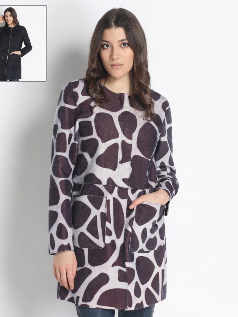 Пальто серо-фиолетовое в принт | 2758465