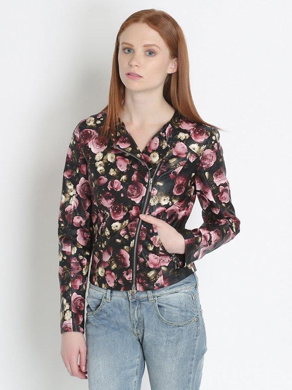 Ветровка черно-розовая цветочной расцветки | 2363876