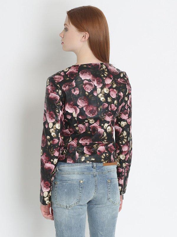 Ветровка черно-розовая цветочной расцветки | 2363876 | фото 2