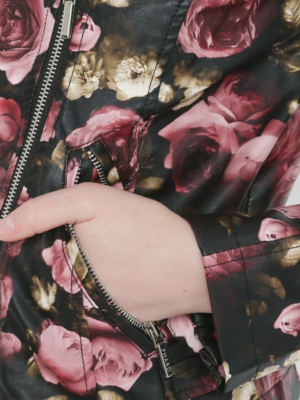 Ветровка черно-розовая цветочной расцветки | 2363876 | фото 4
