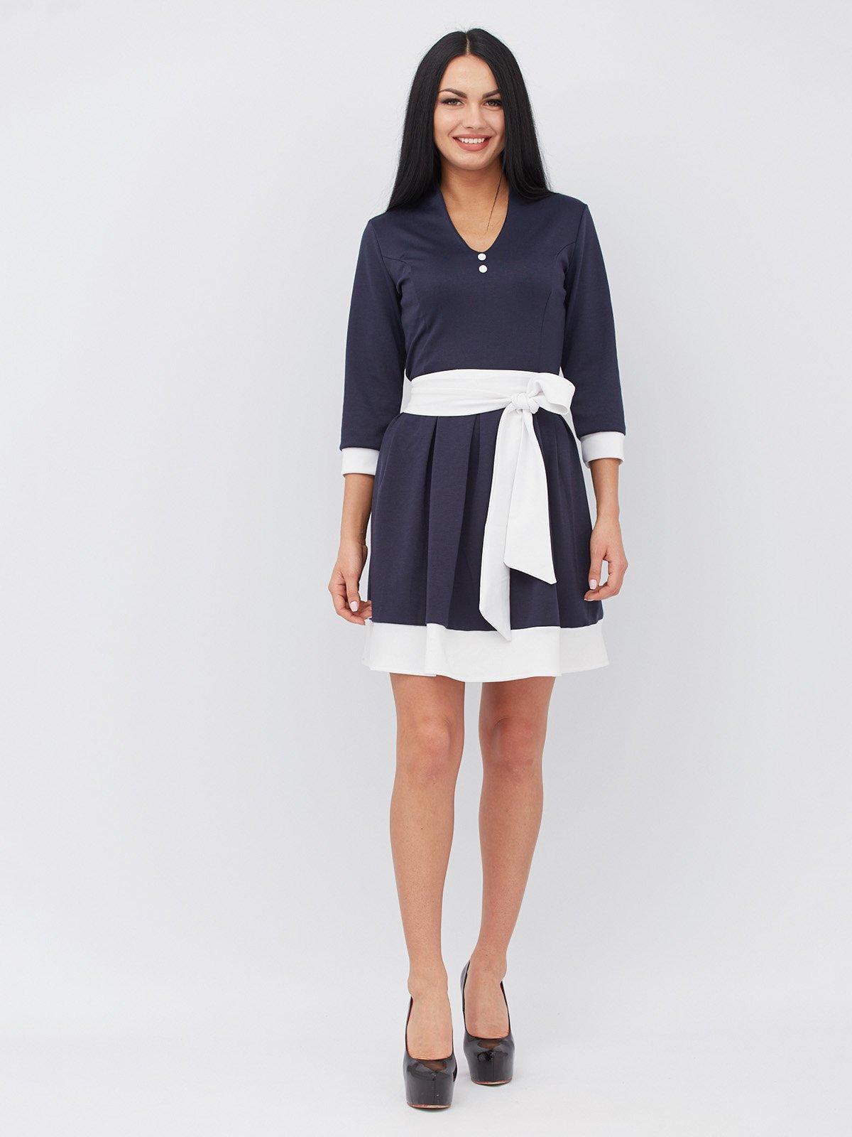 Платье синее с контрастной отделкой | 3090636