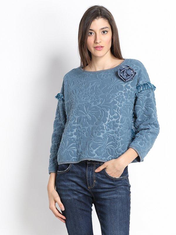Блуза блакитна з малюнком | 2812999