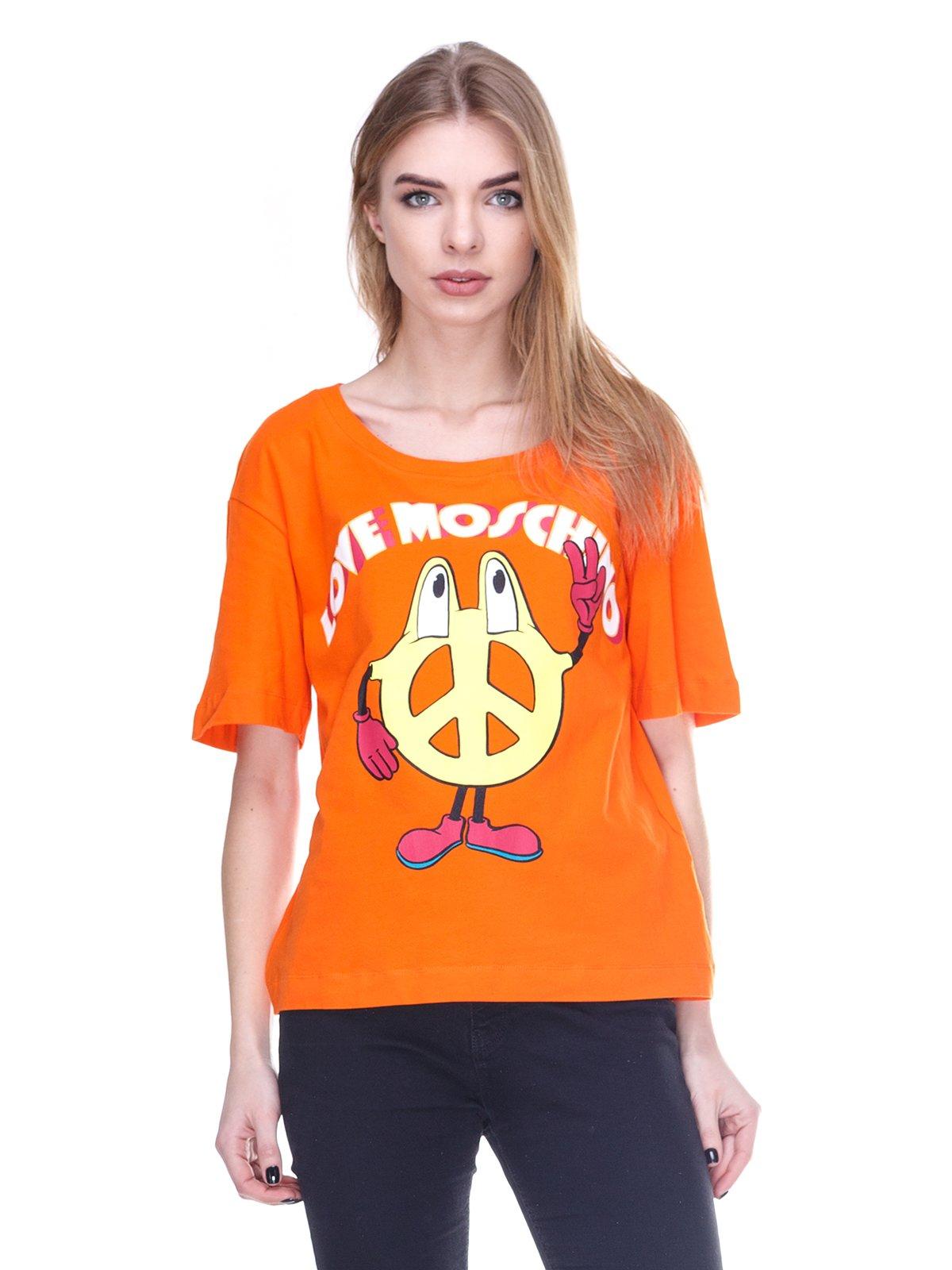 Футболка помаранчева з принтом | 2112565