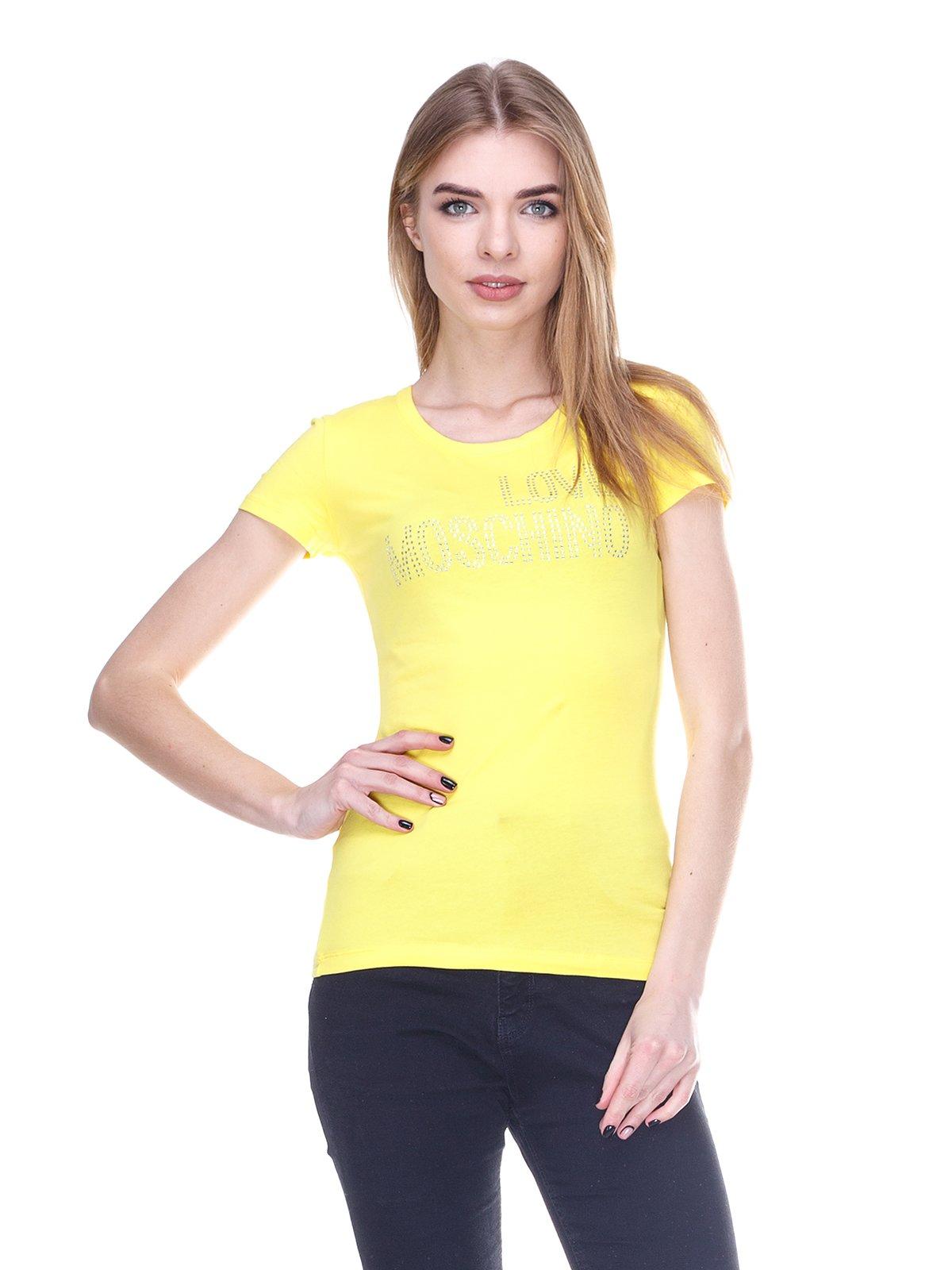 Футболка желтая с надписью из стразов   1001533
