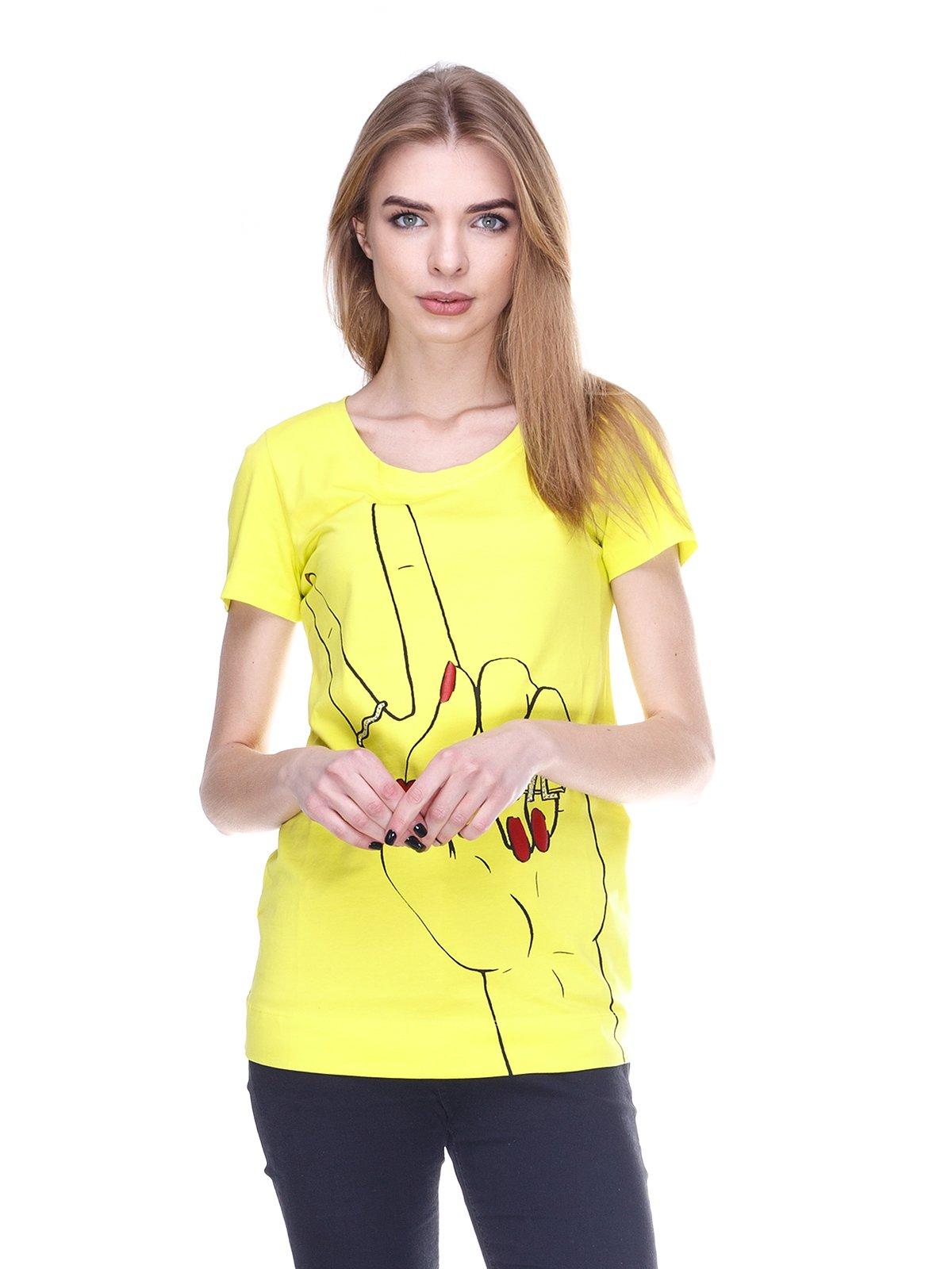 Футболка лимонного цвета с декорированным принтом   1001529
