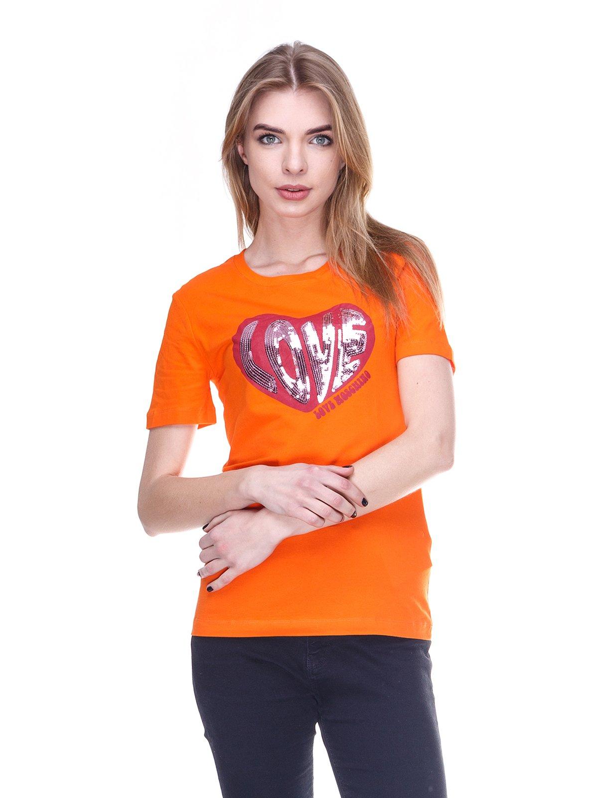 Футболка помаранчева з принтом | 2112555
