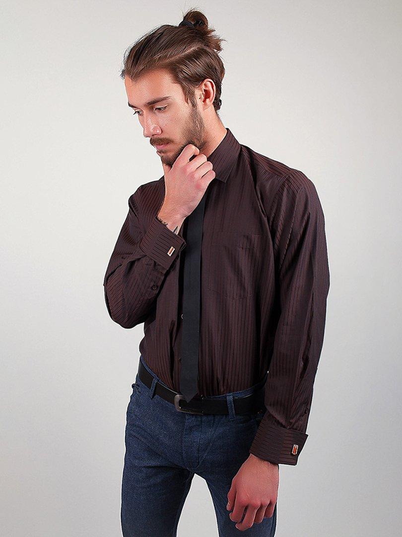 Рубашка темно-коричневая в полоску | 3108324