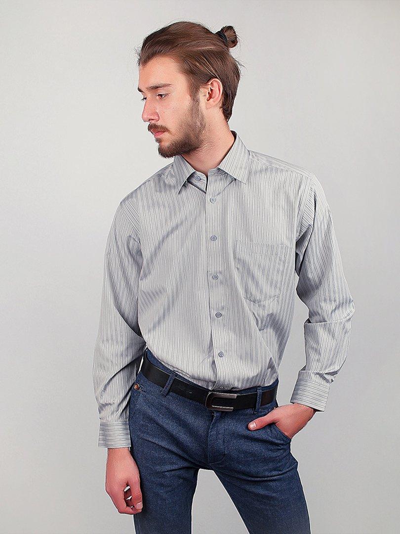 Рубашка серая в полоску | 3108392