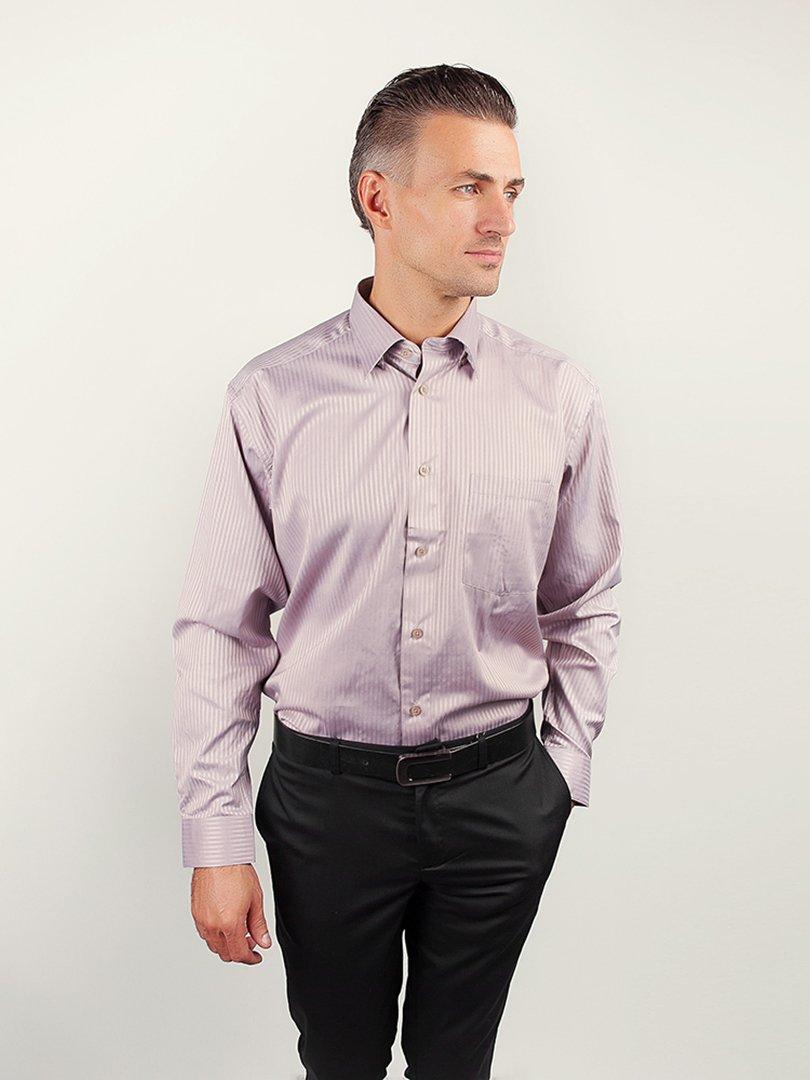Рубашка светло-сиреневая в полоску   3108429