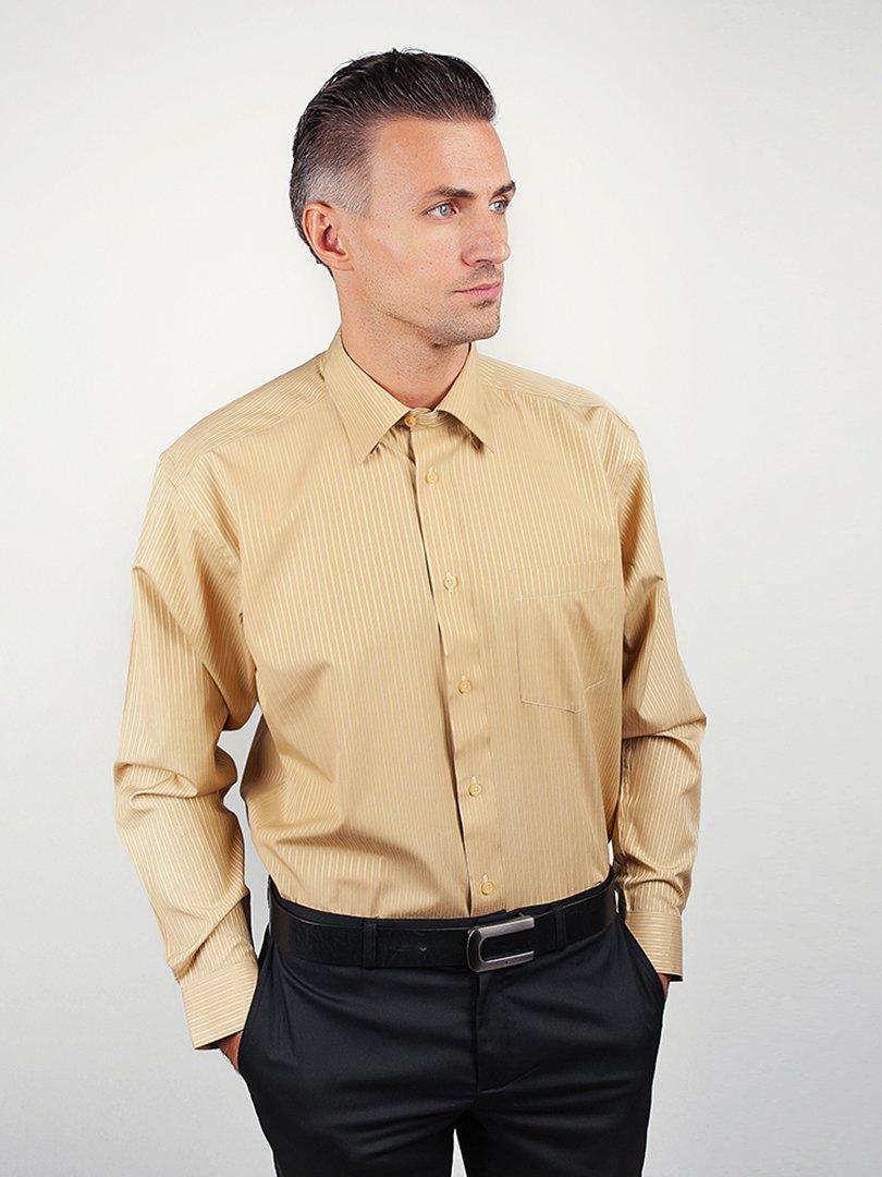 Рубашка оливкового цвета в полоску   3108460