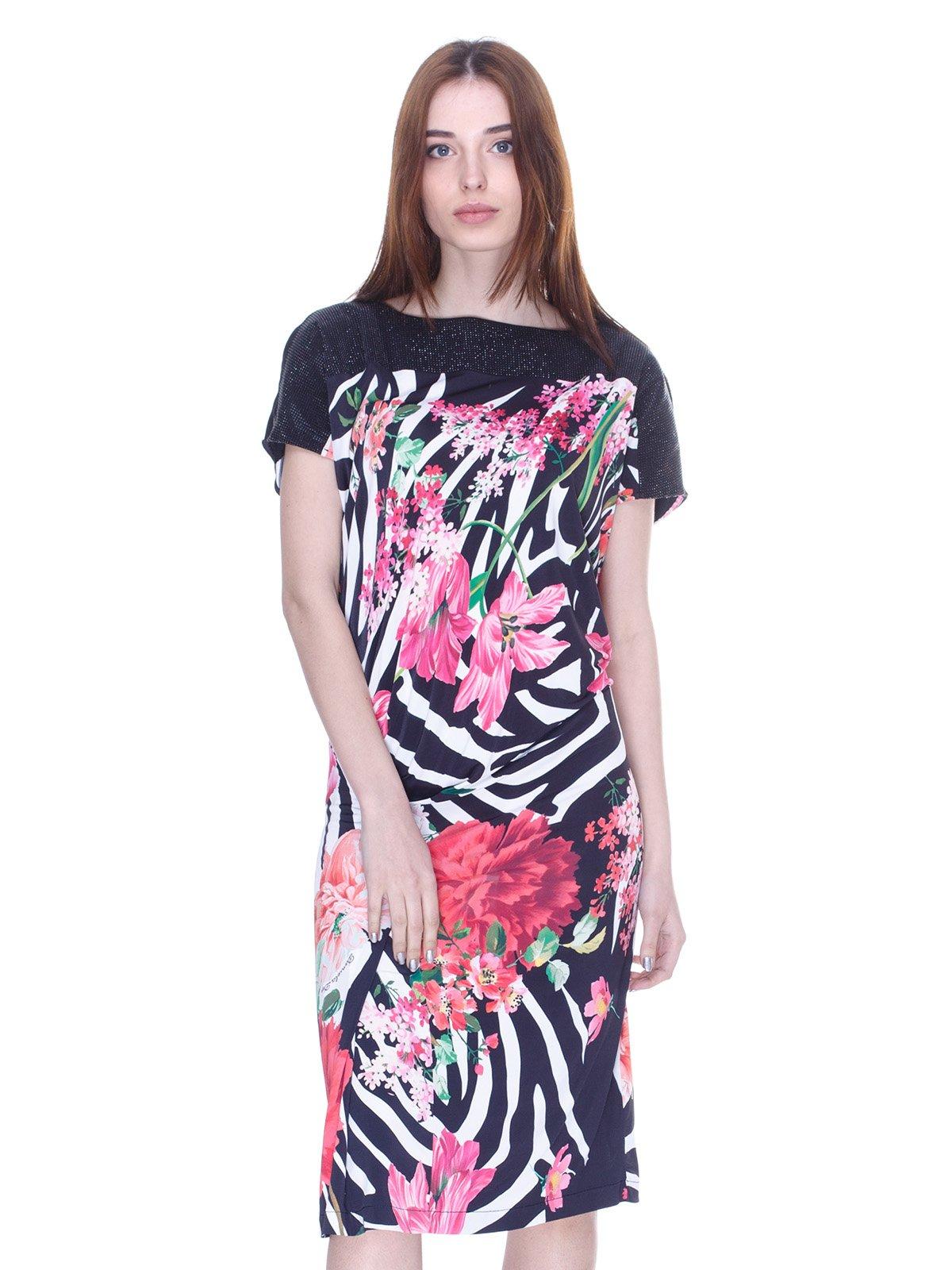 Платье черное с комбинированным принтом | 3075495