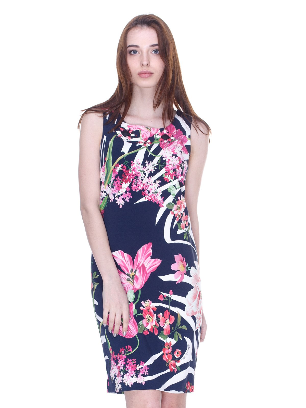 Платье темно-синее с принтом | 3075508