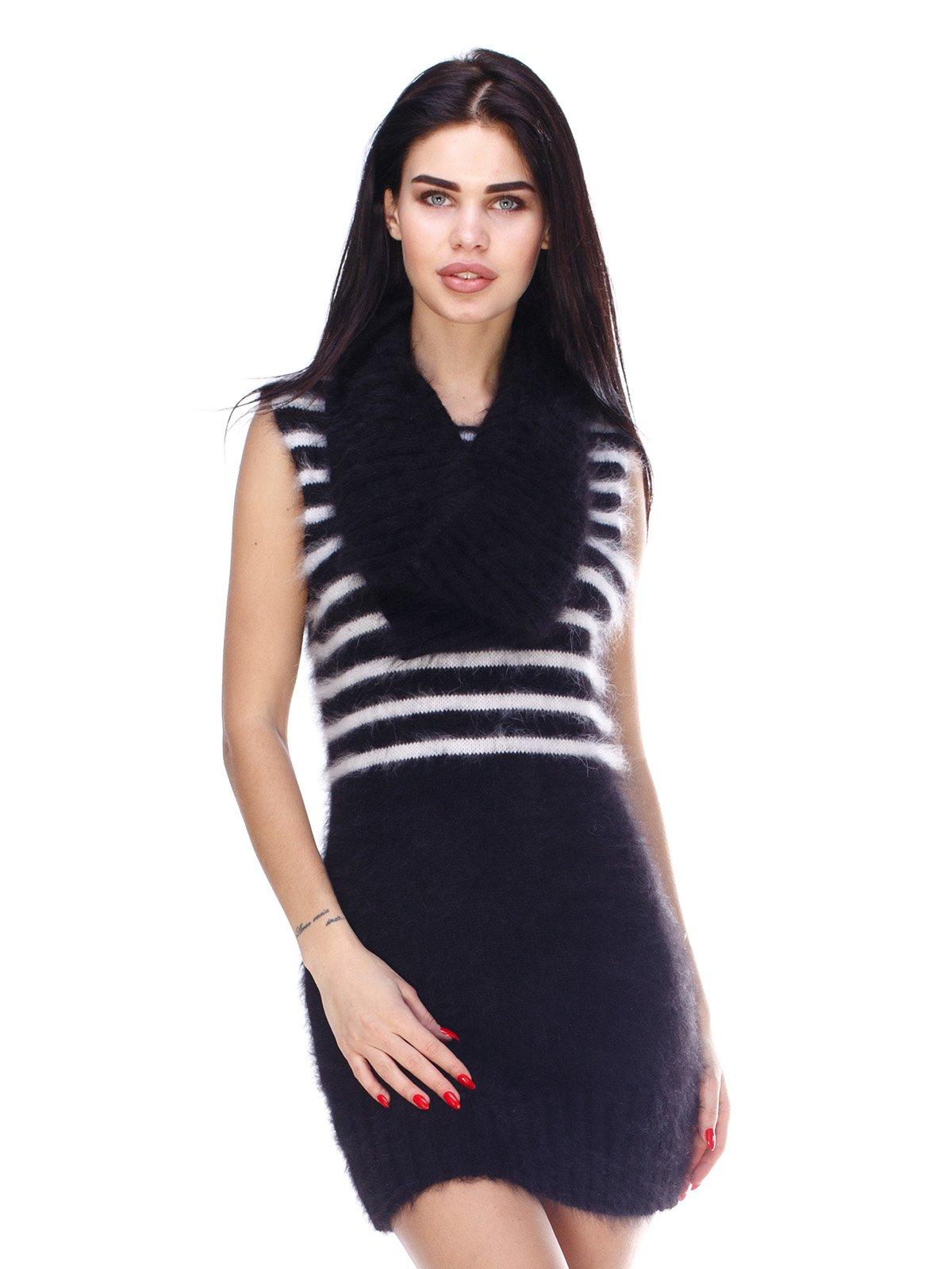Платье черное с шарфом-хомутом | 3075585