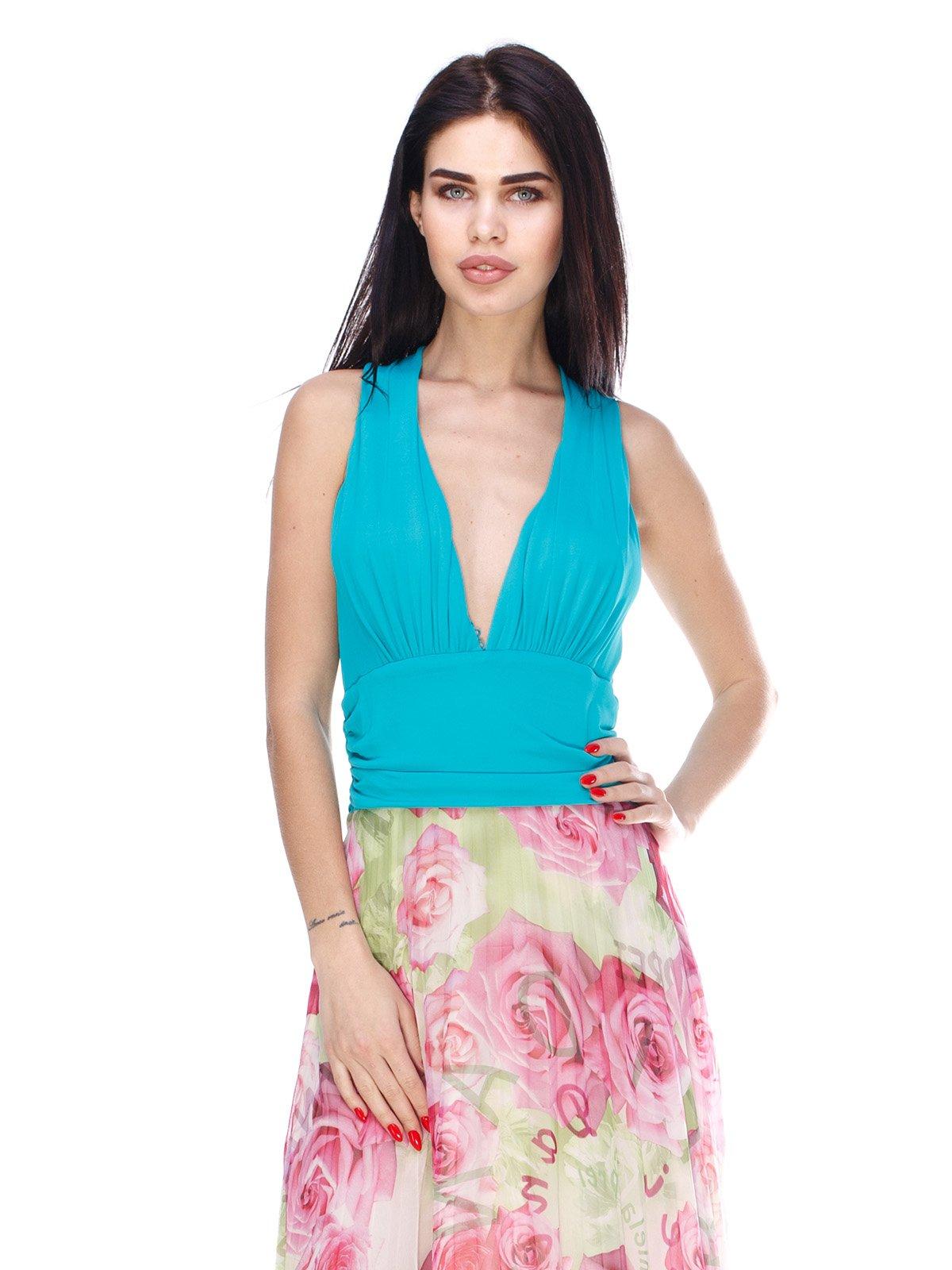 Сукня бірюзова з квітковим принтом | 3075555